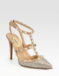 Crystal-Coated Satin T-Strap Pumps from Valentino <3