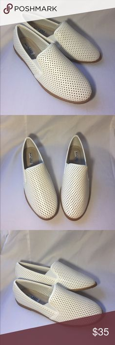 White perforated slip on flats NIB white perforated slip on loafers, very light weight, very cute, diamond laser cut design throughout. Tan soles. ✨ kayleen Shoes Flats & Loafers