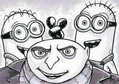 Despicable Me: Set of 4 Sketch Cards by AtlantaJones on Etsy