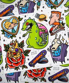 47 Trendy new school tattoo designs cartoon 90s Tattoos, Cartoon Tattoos, Anime Tattoos, Body Art Tattoos, Sleeve Tattoos, Sailor Tattoos, Cartoon Character Tattoos, Arabic Tattoos, Tattoo Flash Sheet
