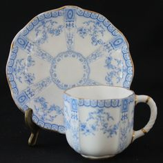 ANTIQUE ROYAL CROWN DERBY CHINA BLUE on WHITE DEMITASSE CUP & SAUCER SET #2860