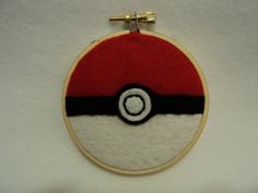 "3"" Pokeball Embroidery Hoop Wall Art"