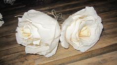 ivory GIGANT roses Crepe Paper Flowers Wedding by moniaflowers