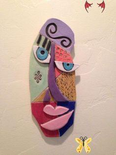 Items similar to Abstract Ceramic Face on Etsy Abstract Ceramic Face by WildNanny on Etsy, $95.00<br> Ceramic Mask, Ceramic Wall Art, Tile Art, Origami Koala, Art Rupestre, Abstract Face Art, Art Visage, Clay Art Projects, Masks Art