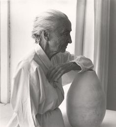 "yama-bato: Laura Gilpin (U.S., 1891-1979)Georgia O'Keeffe with Juan Hamilton Pot, 1953 Gelatin silver print 8 1/4""x7 3/8"" Fred Jones Jr. Museum of Art, The University of Oklahoma, Norman Gift of Carol Beesley Hennagin, 2009"