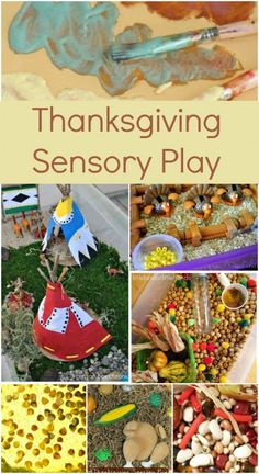 Thanksgiving Sensory Play (Image: a collage of Thanksgiving art and play including small candy-turkeys, a handmade mini tee-pee, and textured paint)