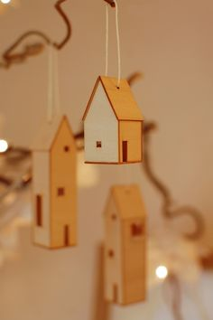 little wooden house decorations. So sweet