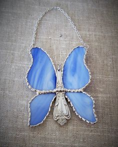 Stained Glass Butterfly Suncatcher Ornament by PineTreeGlassWorks