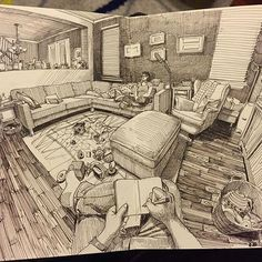 "Paul Heaston, ""Living Room Sketch"", Brown Micron pen on paper (pocket Moleskine sketchbook, dimensions? Moleskine Sketchbook, Arte Sketchbook, Fashion Sketchbook, Sketchbooks, Drawing Sketches, Art Drawings, Pencil Drawings, Crazy Drawings, Perspective Art"