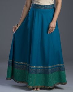 Cotton Zari Embroidery Hem Long Skirt