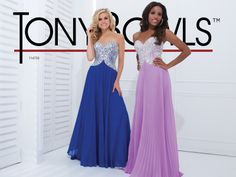 Prom Dress 2014 Collection- Strapless velvet chiffon gown with sweetheart neckline, jeweled bodice with curved side accents and pleated skirt.  Removable straps included.Sizes: 0-16