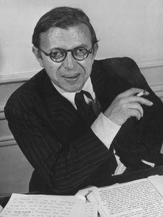 Playwright Jean Paul Sartre at His Home in Paris Premium-Fotodruck von Gjon Mili - AllPosters.at
