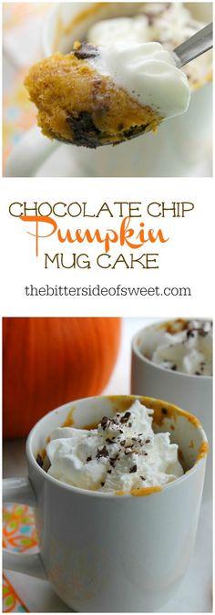 Chocolate Chip Pumpkin Mug Cake | The Bitter Side of Sweet #PumpkinWeek