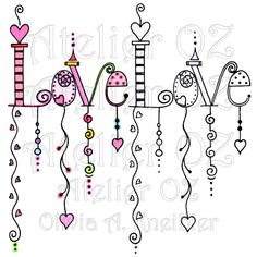SALE Love Dangles Digital Stamp & Painted Image by atelieroz