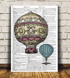 Amazing Balloon poster. Gorgeous Steampunk print for your home and office. Adorable Airship decor. Pretty contemporary Victorian print.    SIZES: