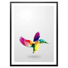Showcasing a colourful geometric bird print, this striking wall art is the perfect addition to your contemporary living room or bedroom. Display alone for a ...