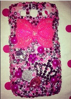 iPhone case ...bling !!!! Avl @ www.facebook.com/southernfrieddivas or SouthernFriedDivas@gmail.com Pink and white w lots of bling..special request