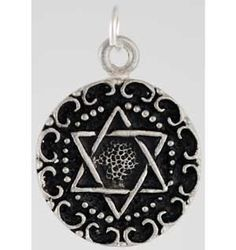 """This powerful charm draws upon the power of the hexagram, long used in Occult traditions as well as Kabbalah, to aid you in seeking the path to wisdom and knowledge. It is of great use in meditation and divination magic, helping you focus and better find and understand the answers that you are seeking.  This amulet hangs 3/4"""" in diameter and comes with a ring for you to string it on your favorite small diameter cord or chain. $5.95"""
