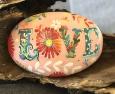 Excited to share this item from my shop: Boho LOVE floral with LOTS of detailing hand painted rock sealed in resin unique gift idea Painted Bricks Crafts, Brick Crafts, Stone Crafts, Pebble Painting, Pebble Art, Stone Painting, Painting Art, Painted River Rocks, Painted Rocks Kids