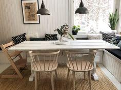 DIY dining table, Old dining table, White wooden dining table, Dining room in old house, Jolina chair, built-in bench dining room, valkoinen ruokapöytä, puinen ruokapöytä, ruokailuhuone