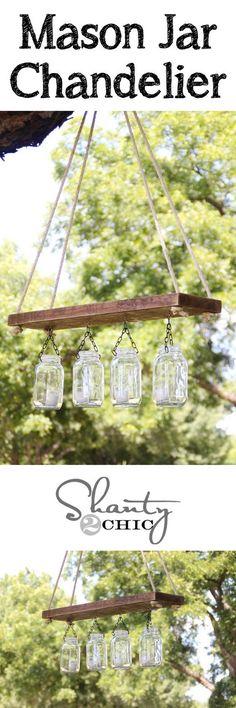 Mason Jar Lights - Outdoor Mason Jar Chandelier - DIY Ideas with Mason Jars for… Mason Jar Chandelier, Outdoor Chandelier, Mason Jar Lighting, Chandeliers, Jar Lamp, Bar Lighting, Chandelier Lighting, Lighting Ideas, Outdoor Lighting