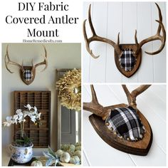 fabric covered antler mount, crafts, reupholster, wall decor Best Picture For Hunting Decor signs Fo Antler Mount, Antler Art, Deer Antler Crafts, Deer Decor, Deer Mount Decor, Antler Decorations, Antler Wall Decor, Decorating With Deer Antlers, Taxidermy Decor