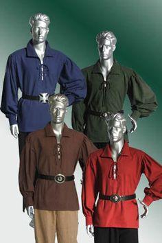 Lace up Shirt Medieval Pirate Peasant Handmade Men LARP on Etsy, 255:76kr