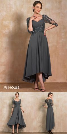 NEW IN✨Sweetheart Asymmetrical Steel Grey Chiffon Lace Mother of the Bride Dress With Beading Sequins #MotherOfTheBrideDresses #MotherDresses #NewArrivals #JJsHouse #Asymmetrical #Chiffon #Lace #Beading #Sequins Mother Of The Bride Dresses Long, Mother Of Bride Outfits, Mothers Dresses, Mother Of The Groom Shoes, Grooms Mother Dresses, Long Mothers Dress, Brides Mom Dress, Dress Long, New Dress