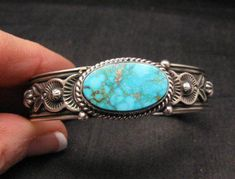 Larson Lee Navajo Native American Turquoise Sterling Silver Bracelet - My western likes - Black Hills Gold Jewelry, Turquoise Jewelry, Turquoise Bracelet, Silver Necklaces, Sterling Silver Bracelets, Silver Earrings, Silver Ring, Silver Jewellery, Gold Necklace