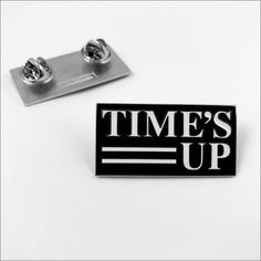 TIME'S UP Movement-Inspired Feminist Clothing and Accessories to Shop - pin Bag Pins, Pin Logo, Pin And Patches, Jacket Patches, Golden Globe Award, White Enamel, Lapel Pins, Pin Collection, Brooch Pin