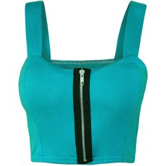 Lindsey Zip Detail Sleeveless Bralet ($17) ❤ liked on Polyvore featuring tops, crop top, turquoise, zip crop top, blue crop top, bralette crop top and bralet tops