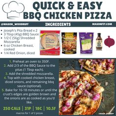 6 Low Calorie Pizza Recipes: Quick and Easy Personal Pizzas Low Calorie Pizza, Calories Pizza, 500 Calories, Calorie Diet, Low Carb, Easy Bbq Chicken, Chicken Pita, Pizza Recipes, Cooking Recipes
