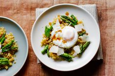 Poached Egg With Crunchy Quinoa and Brown Butter Asparagus