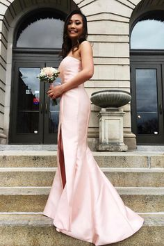 Strapless Mermaid Pink Long Prom Dress with Slit – Simplepromdress Prom Dresses Long Pink, Mermaid Bridesmaid Dresses, Beautiful Bridesmaid Dresses, Evening Dresses, Formal Dresses, Homecoming Dresses, Party Dresses, Wedding Dresses, Slit Dress