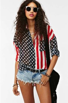 America Shirt at Nasty Gal as shown on 2014 Miss America interview day after pageant in NYC.