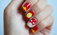 The Justice League nail art, Flash nail art / nails by Wicked Fullmoon