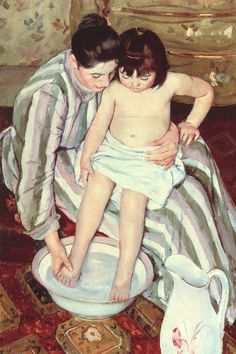The Bath  by Mary Cassatt  This hangs in our guest bathroom.  I love Mary Cassatt art!