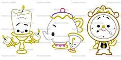 Beauty Princess Cuties Set of Three (3) Machine Applique Embroidery Design