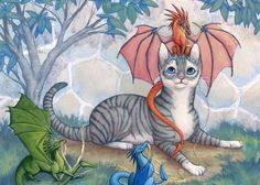 Thomas and the Dragons, ACEO print, Cat and Dragon Friends via Etsy.