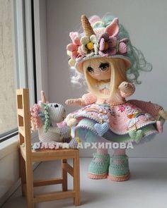 Cute and Amazing Amigurumi Doll Crochet Pattern Ideas - Page 35 of 56 - Daily Crochet! Crochet Fairy, Crochet Unicorn, Cute Crochet, Crochet Crafts, Crochet Toys, Crochet Projects, Diy Crafts, Crochet Cat Pattern, Crochet Dolls Free Patterns