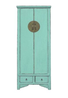 Chinese Light Blue Green Narrow Moon Face Storage Cabinet - Golden Lotus Antiques