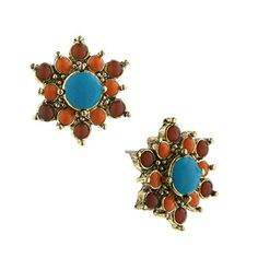 1928 Jewelry Womens Burnished Brass Orange Turquoise Button Fashion Earrings >>> You can get more details by clicking on the image.