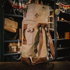 aaef5df9e93 Canvas Leather, Waxed Canvas, Leather Art, Canvas Backpack, Backpack Bags,  Duffle
