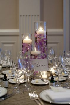 Soft Elegant Table Setting ! Im really liking the idea of lilac! its a perfect mix of: passion,fire,warmth (red) and cool, calm, and peaceful (blue) <3