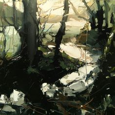 Abstract landscape painting of trees in a forest on a winter day. The limited pallet, contrasting light and shade and economical use of brush strokes make this painting magical! 'Winter Solstice, Torrington' - Oil on Board - 20 x Hester Berry artist. Abstract Landscape Painting, Fantasy Landscape, Landscape Art, Landscape Paintings, Landscape Photography, Art Photography, Abstract Trees, Paintings Of Trees, Abstract Landscape