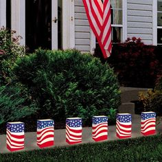 Already planning your July 4th party? How about lighting up your backyard pathway or porch with these red, white, and blue luminaries!