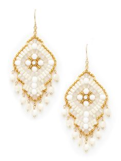 Mother Of Pearl & Opalite Bead Drop Earrings by Miguel Ases at Gilt