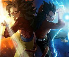 Goku y Vegetta ssj 4 realizando un ataque juntos