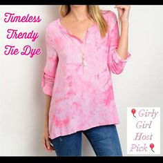 HPTimeless Trendy Tie Dye Top in Perfect Pink Timeless Trendy Tie Dye in Perfect Pink. Vneck - Buttoned Up 3/4 sleeves - Lightweight Rayon S/M  Chest 34 Length 27 M/L  Chest 36 Length 27 L/XL Chest 38 Length 27   Tops Tunics
