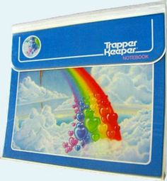 "Trapper Keeper ~ Can you hear the Velcro? ~ ""Trapper Keeper is a brand of loose-leaf binder created by Mead. Popular with students in the United States, Canada and parts of Latin America from the 1970s to the 1990s, it featured sliding plastic rings (instead of standard snap-closed metal binder rings), folders, and pockets to keep schoolwork and papers, and a wrap around flap with a Velcro closure (originally a metal snap closure)."""